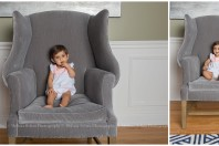 Baby sitting in a large gray chair